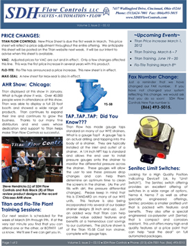 SDH Flow Controls Newsletter features AHR Show in Chicago, Senitec Limit Switches, Spring Return (Deadman) Handle, and VAC High Temperature, V200P-EHT