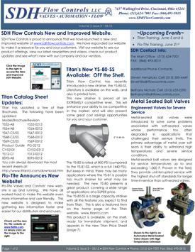May 2012 SDH Flow Controls Newsletter features Titan Catalog Sheet Updates, New SDH, Flo-Tite and Titan Websites!
