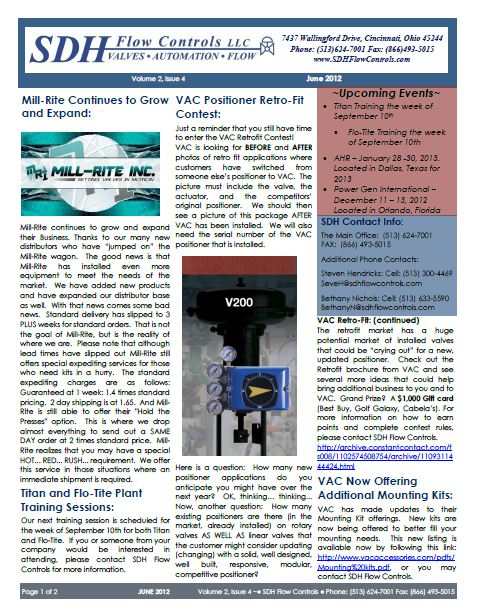 June 2012 SDH Flow Controls Newsletter, Mill-Rite Expansion, Titan and Flo-Tite Plant Training Sessions,VAC Positioner Retro-Fit ContestNew Control Performance Series