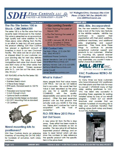 SDH Flow Controls Newsletter