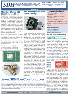 SDH Flow Controls Newsletter features ECO BRASS® for Lead Free,VAC NEW Explosion Proof Switch Offering, Titan's Pump Engineer Magazine Debut.